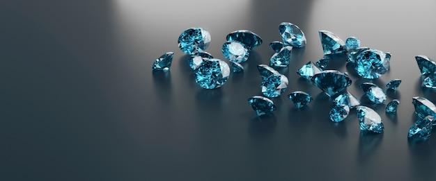 黒の背景に置かれた青い宝石石グループ