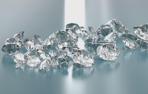 光沢のある背景に配置されたダイヤモンドグループ