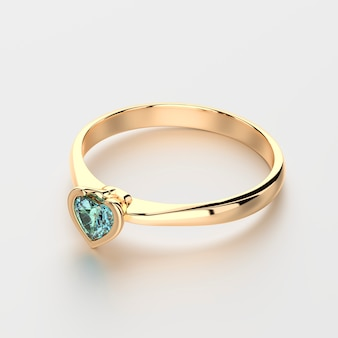Кольцо с бриллиантом в форме синего сердца на белом фоне