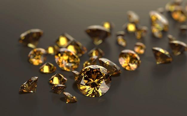 光沢のある背景に配置されたラウンドダイヤモンドトパーズ