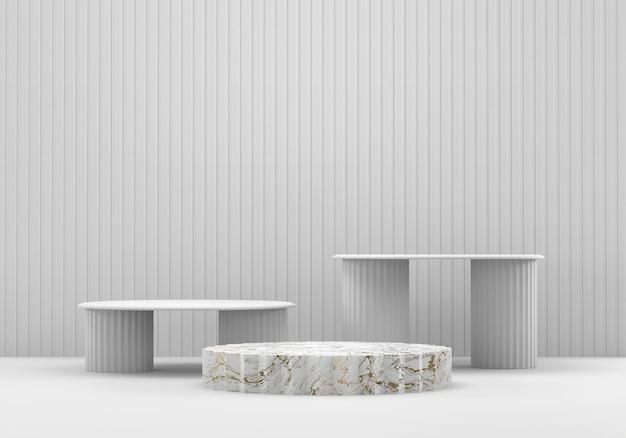 白い大理石のステージプラットフォームの表彰台、広告製品の表示の背景