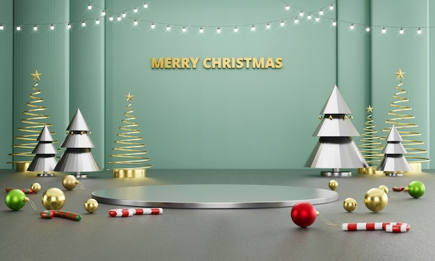 装飾と抽象的な豪華なメリークリスマスステージ
