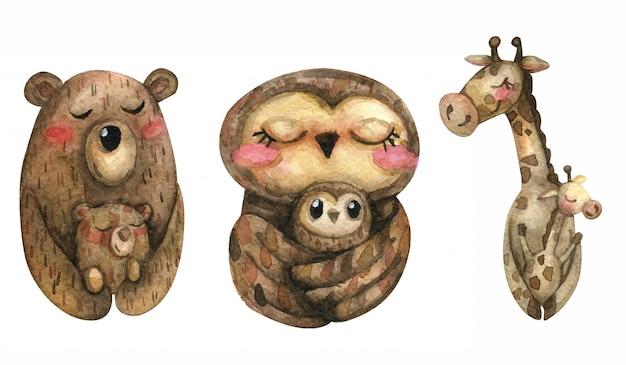 Иллюстрация акварель животных мама с ребенком. жираф, сова, медведь. семья.