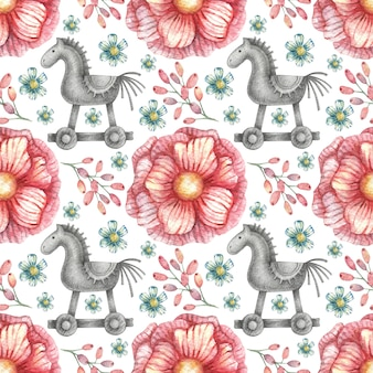 Бесшовный фон с изображениями графического коня на колесах и розовых ярких тонах.