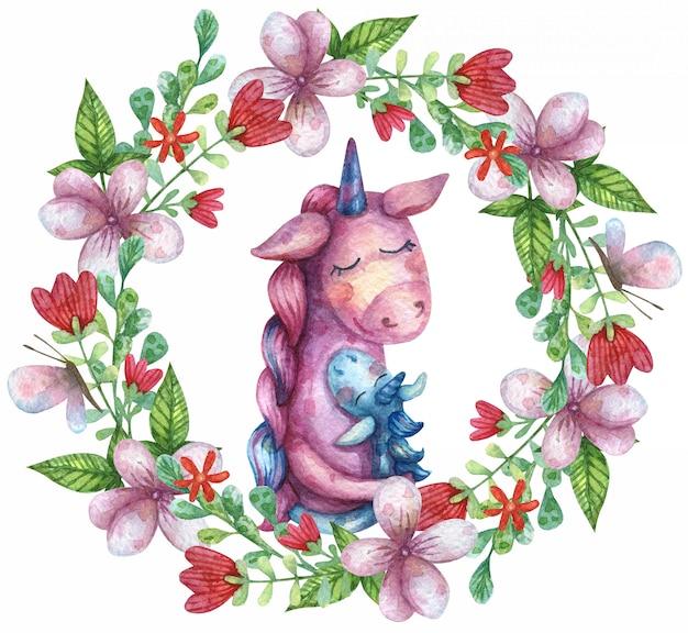 お母さんを抱いてかわいいユニコーンの水彩イラスト。野の花と葉と蝶の花輪。