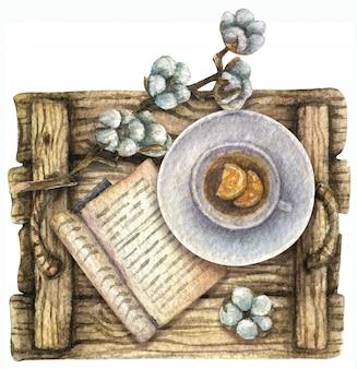 水彩イラスト。上面図。紅茶とレモン、本、綿の入った木製トレイ。朝食。