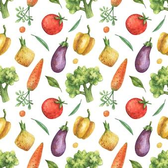 Акварель бесшовные модели овощей (помидор, баклажаны, морковь, брокколи, перец, лук) на белом фоне. здоровая пища, вегетарианская.