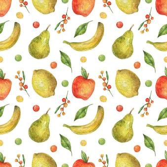 明るい果物(リンゴ、バナナ、梨、レモン)の水彩のシームレスなパターン。健康食品。ビーガンビタミン。