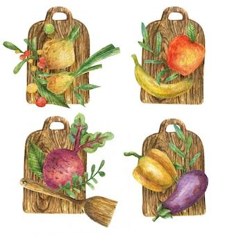 木製のまな板に野菜(ビート、玉ねぎ、ナス、ピーマン)と果物(バナナ、リンゴ)の水彩イラスト。健康食品。ビタミン。ロゴタイプ。