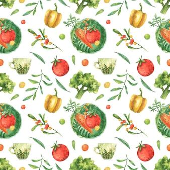野菜のイラストが水彩画の背景