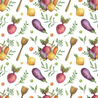 野菜と木製の道具のイラストと水彩の背景