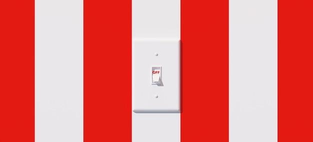 赤と白のストライプの背景に白色光スイッチ