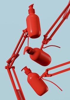 青の背景に調整可能なクランプ付きの赤い化粧品ボトル