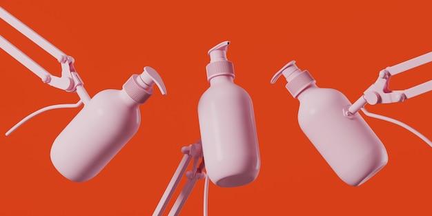 サンゴの背景に調整可能なクランプ付きピンクの化粧品ボトル
