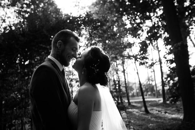 フランクは庭で花嫁にキスします