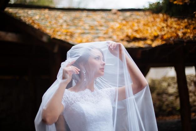 Красивый портрет невесты с вуалью на лице, профессиональный макияж