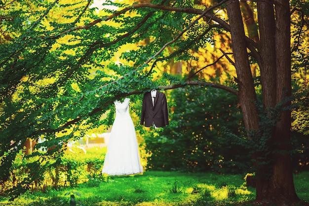 公園の木の新郎なのでウェディングドレスの衣装の花嫁