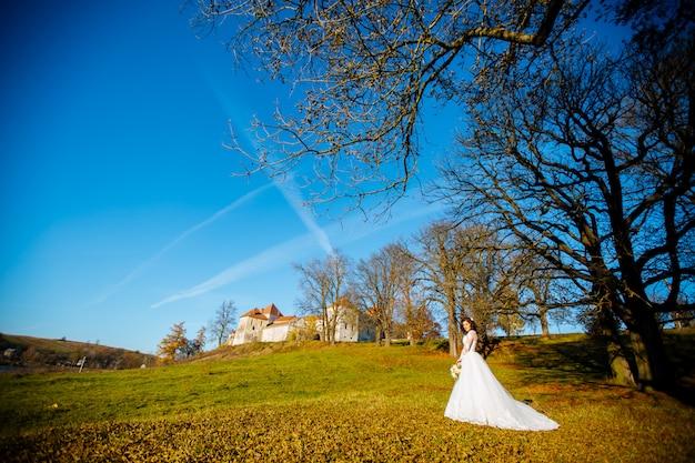 Сексуальная красивая брюнетка невеста в белом платье создает парк на закате