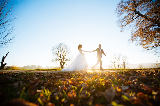 Прекрасная свадьба пара в закат