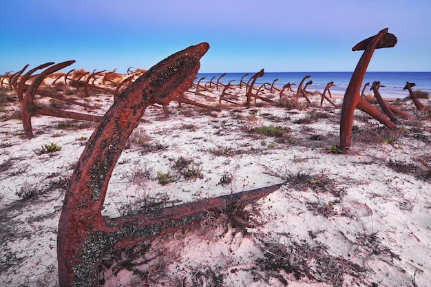 Старые кладбища ржавые якоря. португалия, пляжные камни короля.