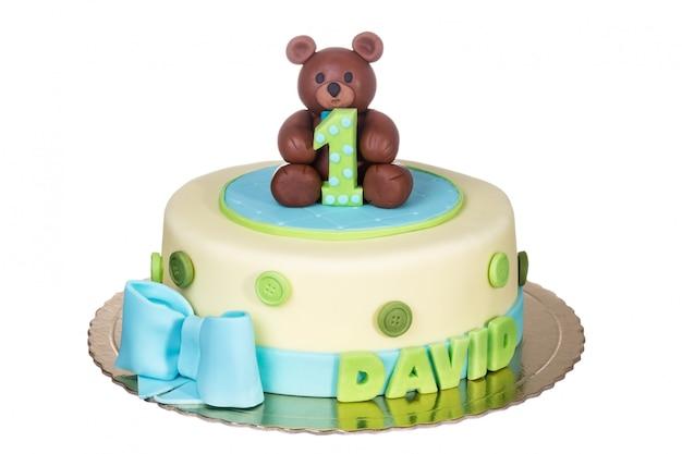 子供の誕生日に素晴らしいケーキ。一年。