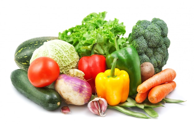 白で隔離される野菜