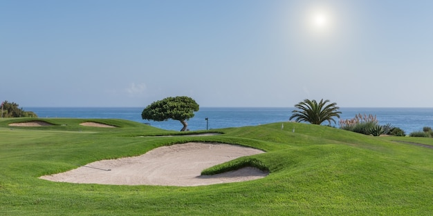 Панорама поля для гольфа. лето для туристов.