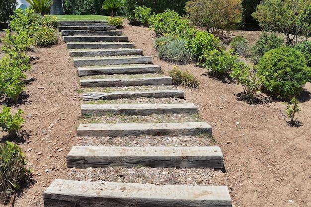 庭の木の階段。夏。