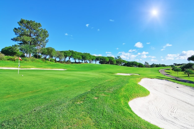 Роскошное поле для гольфа для летнего отдыха.