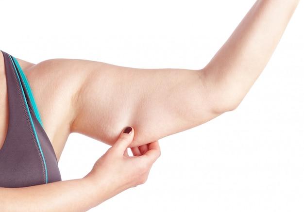 過剰な脂肪で手を握る中年の女性。白い壁の上。