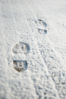 雪の中の人間の足跡