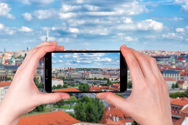 Вид с воздуха на город прага чехия