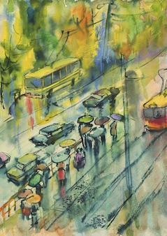 水彩秋の街並み。絵画通り、人々、雨、路面電車。手描きの芸術的な図