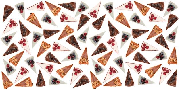 白で分離されたさまざまなパイの水平パターン