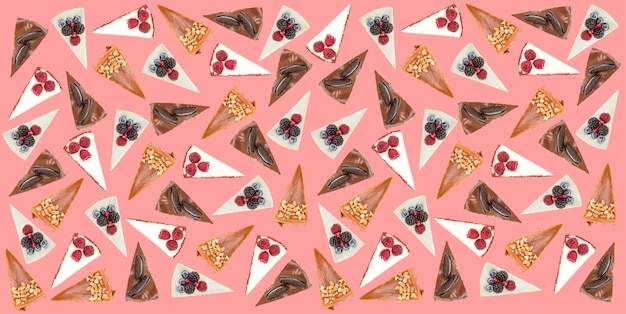 Горизонтальная картина различных пирогов, изолированных на розовый