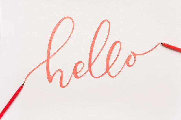 オレンジ色のマーカーで手書きの挨拶フレーズ