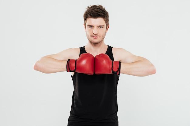 集中した若いスポーツマンボクサー