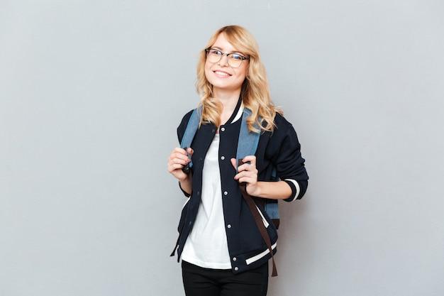 Счастливый молодой леди студент