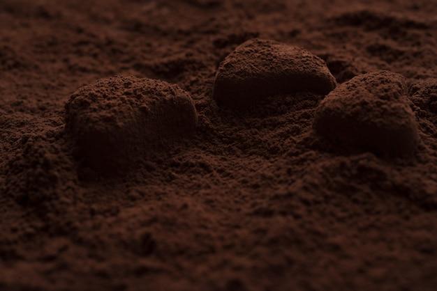 ダークパウダーで覆われたチョコレート菓子