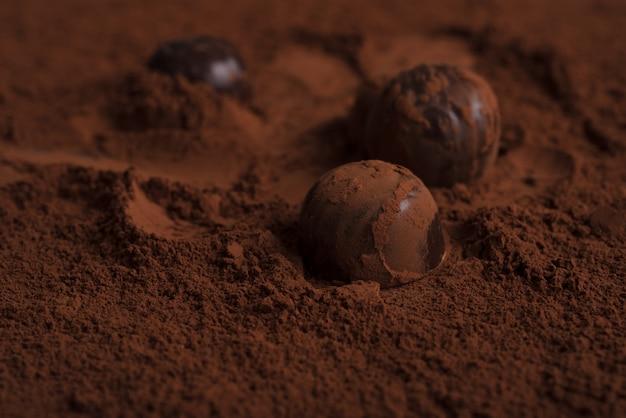 チョコレートパウダー上のチョコレート菓子のクローズアップ