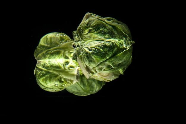 Куча зеленых свежих брюссельской капусты в воде