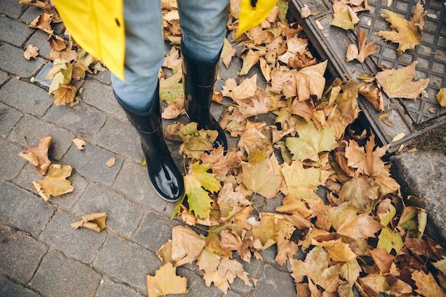 ゴム長靴に身を包んだ少女の写真をトリミング