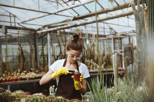 植物の近くの温室に立っている若い女性を集中