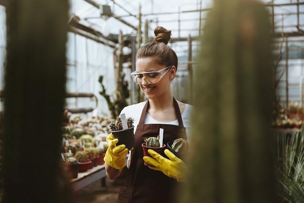 植物の近くの温室に立っているメガネで幸せな若い女性。