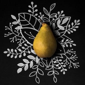 アウトライン花のテーブル上の梨