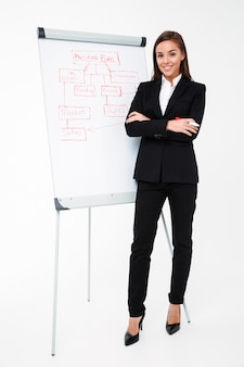 Счастливая милая коммерсантка около бизнес-плана и показывать его