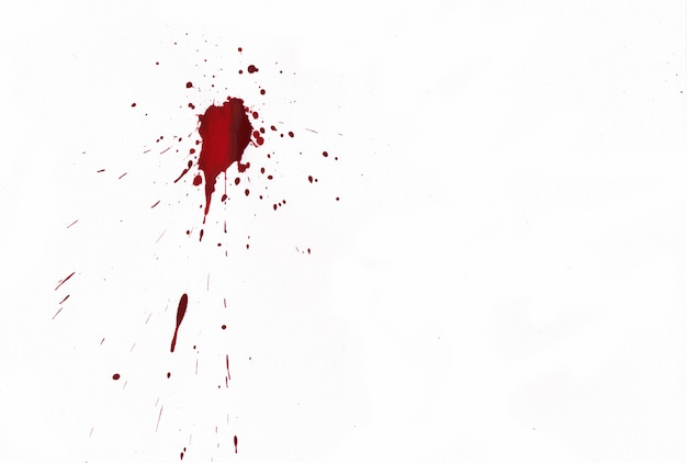 白い背景の上の血飛び散っ