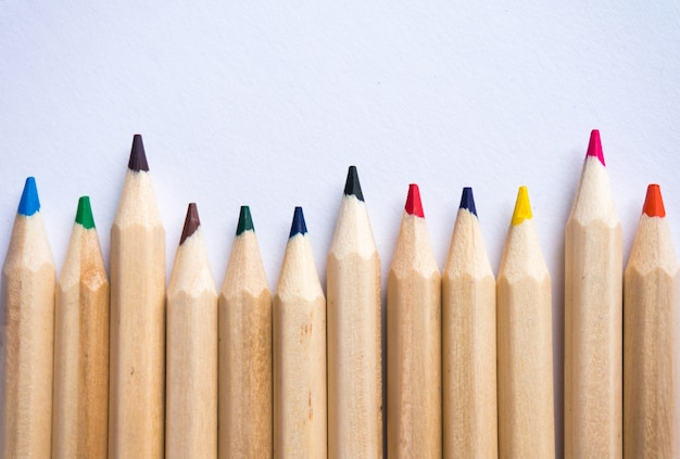 白い紙の背景に色鉛筆。コピースペース。