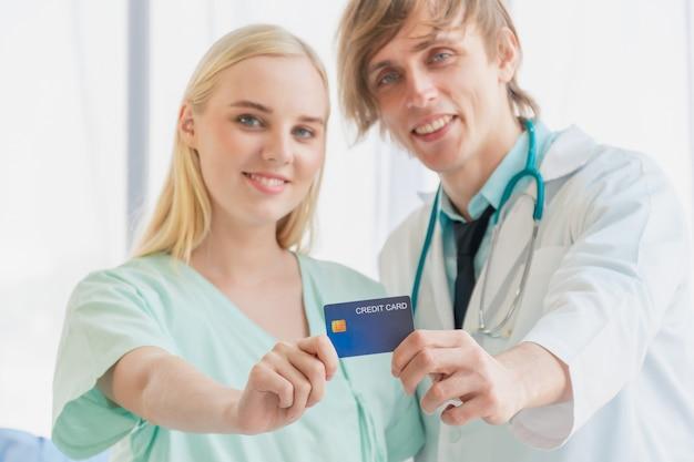 Кредитная карта и медицинский платеж за хорошее здоровье.