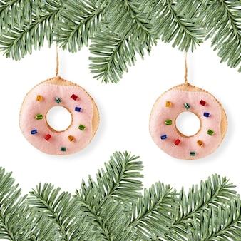 クリスマス料理の装飾-ドーナツ、常緑の境界線